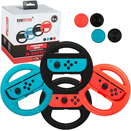 EVORETRO Premium Steering Wheels – Nintendo Switch Accessories Party Pack of 4 Perfect for Mario Kart 8 and All Things Racing (Comes in Red Blue and Black)