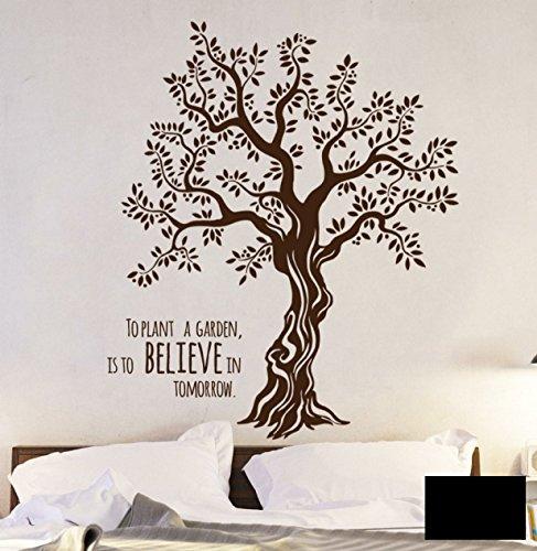 Wandtattoo Wandaufkleber Baum Olivenbaum mit Spruch M1567 - ausgewählte Farbe: *Schwarz* - ausgewählte Größe: XXL - 155cm breit x 180cm hoch