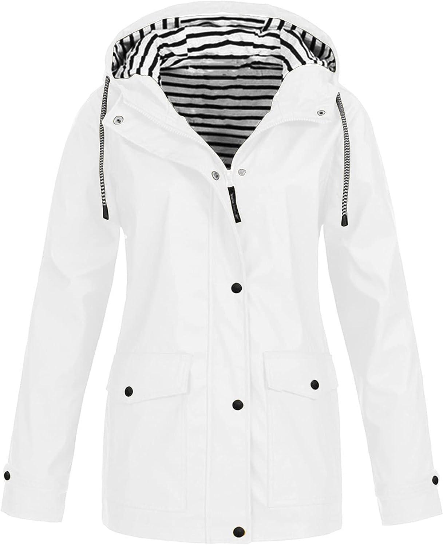 KOPLTYRFG Raincoats for Adults Rain Jacket with Hood Lightweight Waterproof Breathable Outdoor Long Trench Raincoat
