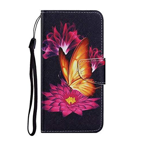 Miagon für Samsung Galaxy A40 Hülle,Bunt Muster Handytasche Flip Case PU Leder Cover Magnet Schutzhülle Ständer mit Kartenfach Magnetisch,Gold Schmetterling