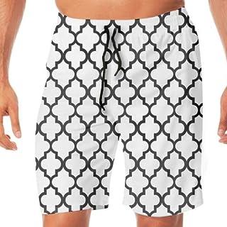 メンズ サーフパンツ 水陸両用 海水パンツ 夏 速乾 ショートパンツ ビーチ ショーツ Neat Black White Pattern水着 おしゃれ 撥水