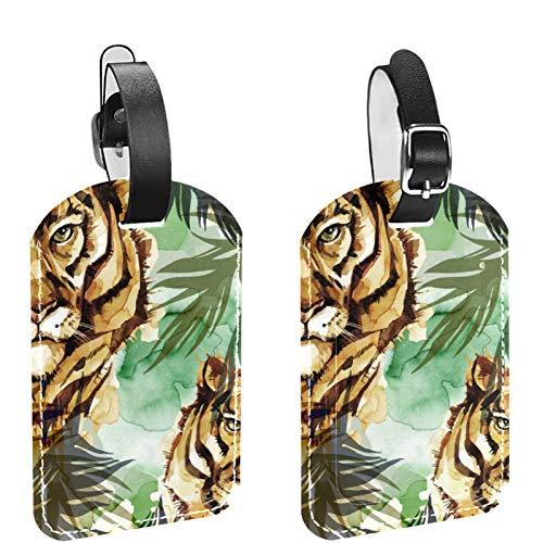 Etiquetas de equipaje, de cuero personalizado etiqueta de equipaje conjunto de etiquetas de identificación de equipaje accesorios de viaje, juego de 2 hojas de bosque de tigre de acuarela