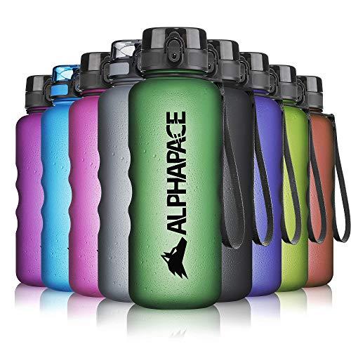 ALPHAPACE Trinkflasche, auslaufsichere 1.500 ml Wasserflasche, BPA-freie Flasche für Sport, Fahrrad & Outdooraktivitäten, Sportflasche mit Fruchteinsatz, in Dark-Green