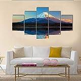QQQAA Cuadros Modernos Impresión de Imagen Artística Digitalizada Lienzo Decorativo para Tu Salón o Dormitorio Monte Fuji y Lago Shoji XXL 5 Piezas (150x80cm)