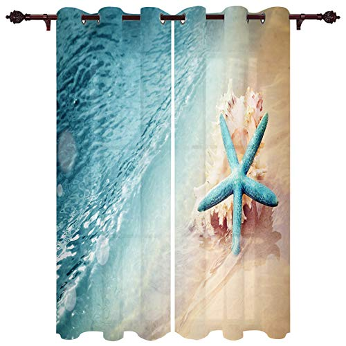 Blackout Curtains Coastal Sea Starfish Shell Beach Thermal Insulated Window Treatment Panels Blue Summer Window Curtain Room Drapes Living Room 52x84inch Set of 2 Curtain Panels