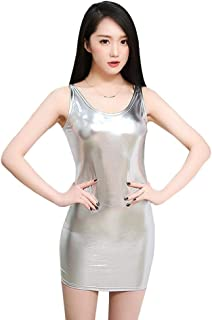 Wetlook Patent Leather Dress Shiny Dress Bandage for Adult Women's Erotic Underwear Clubwear Costumes (Color : Silver, Size : XLarge)