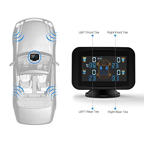 Reifendruckkontrollsystem, CARCHET TPMS Reifendruckmesser kabellos Refendruckprüfer Farb-LCD Display mit 4 Sensoren,Überwachungssystem echtzeige Anzeige über Druck und-Temperatur für Auto, SUV usw