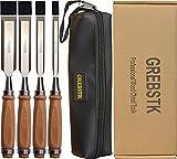 4PCS Professional Wood Chisel Tool Sets Sturdy Chrome Vanadium Steel Chisel Woodworking Tools, 1/4...