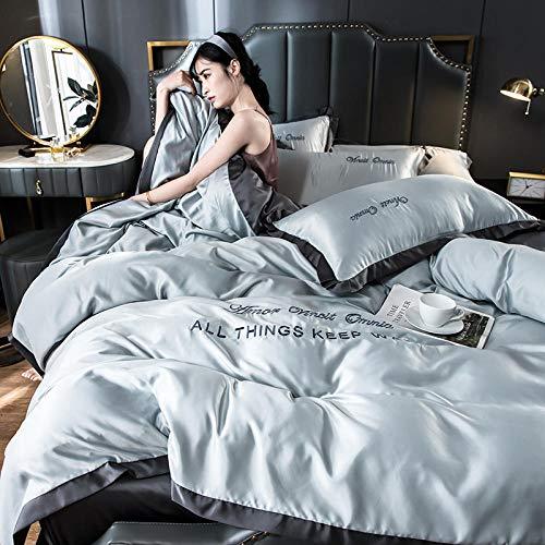 juego de ropa de cama 160x200,Cubierta de sábana de cuatro piezas de seda de hielo de verano de seda cama de cama para ropa de cama Kit de almohada Caja de almohada Día de la madre Regalo-Volar_1,8 m
