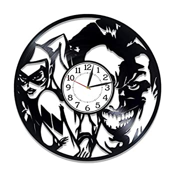 Kovides Joker and Harley Quinn Wall Clock Xmas Gift for Fan DC Comics Vinyl Record Wall Clock Harley Quinn Birthday Gift Idea for Man Movie Original Home Decor Suicide Squad Handmade Clock 12 Inch
