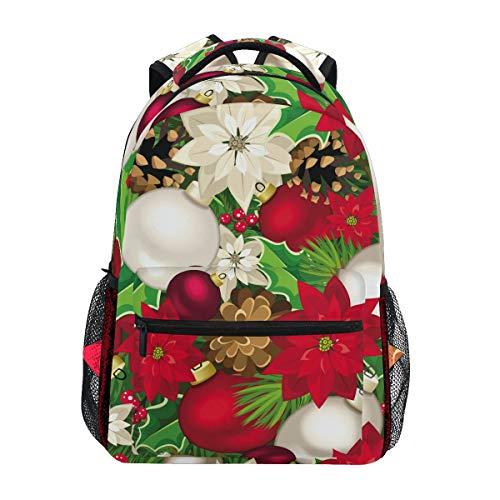 Ahomy Mochila Escolar para Adolescentes, niñas, niños, Flores de Pascua de Navidad, piñones, Bolas, Acebo, Mochila de Viaje, Bolsa de Senderismo para Mujeres y Hombres