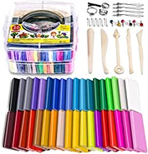 Polymer Clay Starter Kit, 36 Colors Oven Bake Clay, Baking Modeling Clay, DIY Soft Craft Clay, 5 Sculpting Tools, Accessories, and Storage Box. 36 Blocks (1 oz/Piece)