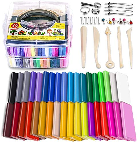 Polymer Clay Starter Kit, 36 Colors Oven Bake Clay, Baking Modeling Clay, DIY Craft Clay, 5 Sculpting Tools, Accessories, and Storage Box. 36 Blocks (1 oz/Piece)