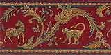 Dundee Deco BD6151 Tapeten Bordüre, vorgeklebt, Tiermotiv, Kastanienbraun, Rosa, Grün, Blau, Tribal-Szene, Tapetenbordüre Retro-Design, 4,57 m x 17,15 cm