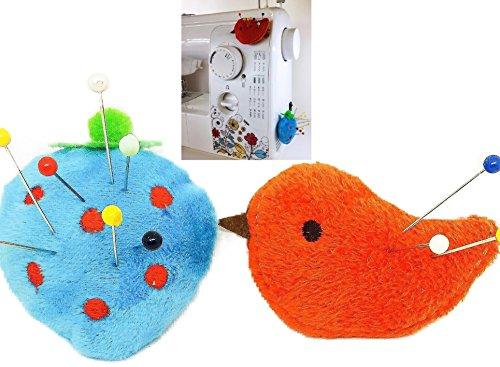 Pin Cushion for Sewing Machine 2 pcs Needle Storage Organizer Blue Strawberry