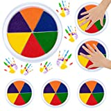 Mewtogo 6 Pack 6 Colors Ink Pads- Stamp DIY Finger Color-Painting Craft Cardmaking DIY Ink Pad for Kids Montessori Drawing Learning Education Toys
