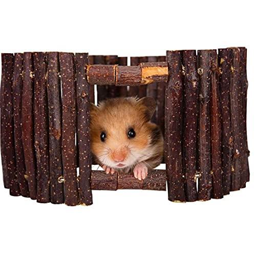 Aiyrchin Natural Living hámster Escalera casa del Animal doméstico Escalada escondite de Apple Puerta se Pega Cerca del Puente de Madera del Juguete para Masticar Hamster Conejo Jerbo (Random Estilo)