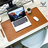 Yikda Extended Leather Gaming Mouse Pad/Mat, Large Office Writing Desk Computer Leather Mat Mousepad,Waterproof,Ultra Thin 1.2mm - 31.5'x15.7' (Brown)