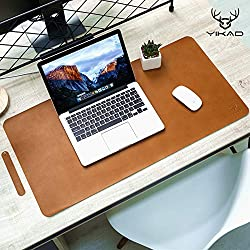brown leather desk pad