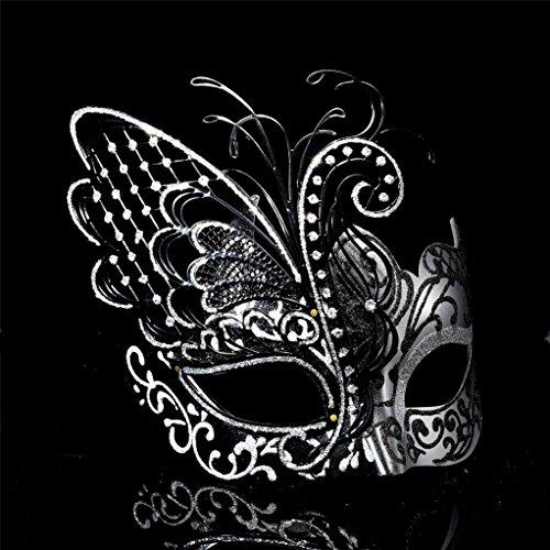 CCUFO [Flying Butterfly] Silber / Schwarz Gesicht mit [Sparkling Wing] Laser Cut Metall venezianischen Frauen Maske für Maskerade / Party / Ball Prom / Mardi Gras / Hochzeit / Wanddekoration