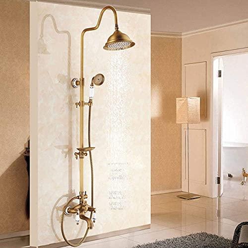 ZCYXQR Shower System Antique Brass Bathroom Shower Faucets Set 8 Rain Shower Head Handles Mixer Tap with Soap Dish Bath Shower (Home Shower)