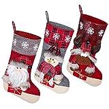 Tomaibaby 3 Piezas Medias de Navidad Saco de Calcetines de Navidad Bolsas de Regalo Bolsas de Regalo Adornos Colgantes para La Decoración del Árbol Adorno de Navidad