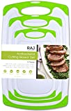Raj Plastic Cutting Board Reversible Cutting board, Dishwasher Safe, Chopping Boards, Juice Groove, Large Handle, Non-Slip, BPA Free (Set of Three, Green)