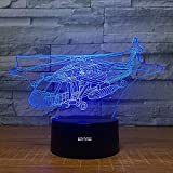 Fighter Helicopter Visual 3D Night Light Aircraft Toys 2D lamp Xmas Chirstmas Festival Birthday Valentines Day Gift Nursery Bedroom Desk Table Decoration for Baby Kids Children Lovers
