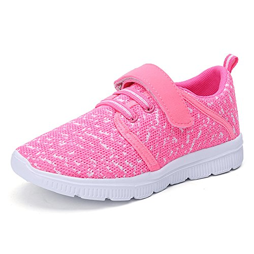 Abertina Kids Lightweight Breathable Running Sneakers Easy Walk Sport Casual Shoes for Boys Girls(Pink,32)