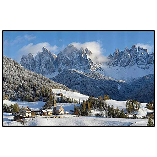 Apartment Decor Collection Ultra Soft Indoor Modern Area Rugs Mountain Village Scenery in Winter with Snow Peaks Northern Zone Spot Alps Photo Anti-Skid Nursery Girls Carpets White Blue Green
