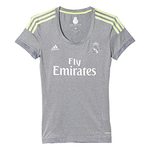 adidas Real Madrid Camiseta Segunda equipación, Mujer, Gris/Lima, M