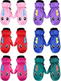 6 Pairs Kids Winter Snow Mittens Waterproof Warm Ski Gloves Unisex Gloves for Cold Weather Children, 3-5 Years Old (for 6 - 12 Years)