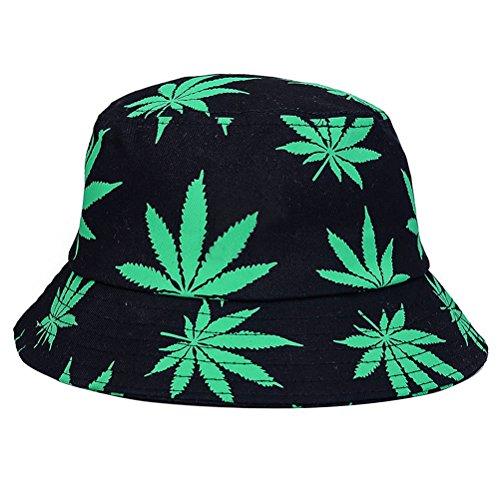 BESTOYARD Fischerhut Faltbare Eimer Hut Outdoor Sonnenhut mit Blätter Druck für Frauen und Männer (Green)