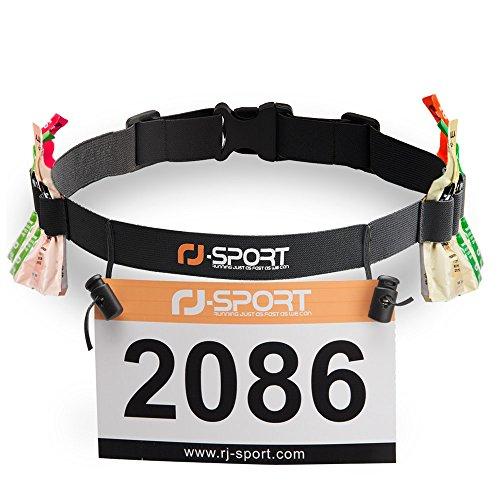 RJ-Sport Triathlon Startnummernband Laufgurt mit Nummernhalter & 6 Gel-Halter für Joggen Radfahren Marathons (Schwarz)