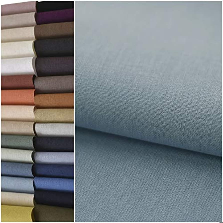 COTTONVILL Linen Blend Bio Washing Solid Quilting Fabric for DIY Sewing Crafting 52
