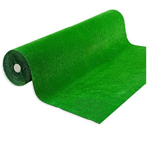 Rollo de césped artificial sintético, drenante, venta al metro, 100 cm de ancho, excelente calidad, 4 Piquetes Acero Incluido 100 % fabricado en Italia