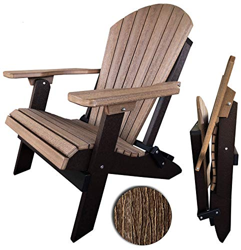 DURAWEATHER POLY Classic King Size Folding Adirondack Chair (Antique Mahogany on Black)