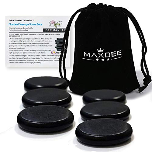 "Hot Stones - Maxdee 6Pcs Medium Massage Stone Set, Hot Massage Stones Heated Warmer Rocks for Professional or Home Spa, Relaxing, Healing, Pain Relief, 2.4"" x 2.4"" inch"