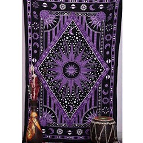 Tapiz de Mandala Ouija de Tarot indio tapiz psicodélico Hippie macramé montaje en pared sol Luna Boho decoración tapiz A4 130x150cm