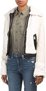 Faux Fur Jacket with Trim Details - Ivory/Black