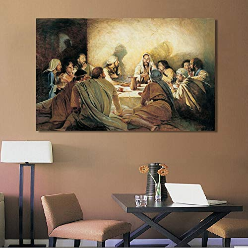 Última cena Da Vinci Famoso lienzo Pintura Carteles e impresiones Jesús y discípulos Escandinavia Cuadros Wall Art Picture for Home 50x70CM SIN marco