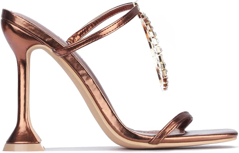 Women's Open Toe Two-Strap Slip-On High Heel Sandal