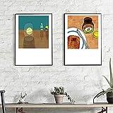 Cartel nórdico Naturaleza muerta Comida Lienzo Tostada Pan Limonada Sencillez Pintura Arte Impresión Imagen de pared Sala de estar Decoración del hogar 70x100cmx2 Sin marco