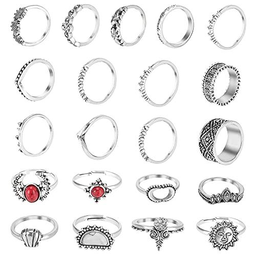 Aceshop Vintage Knuckle Ring 21 Pezzi Set di Anelli Punk Vintage Regolabili Set di Anelli Punk Gotici Lega Anelli Impilabili Gotici per Donne Ragazze Bambini Adolescenti Decorazioni Regali (Argento)…