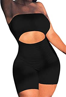 Women's Sexy Bodycon Strapless Romper Jumpsuit Catsuit Shorts Club Party Outfit