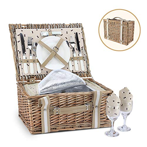 G GOOD GAIN Willow Picnic Basket Set for 2 Persons with Large Insulated Cooler Bag and Waterproof Picnic Blanket,Wicker Picnic Hamper for Camping,Outdoor,Valentine Day,Chirtmas,Thanks Giving,Birthday.