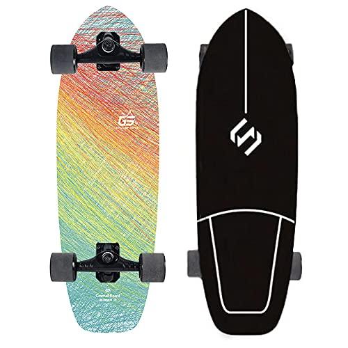 VOMI Tallado Skateboard Niños Tierra Surfboard S 7 Camión Profesional Tierra Surfskate Skateboard Tallado Patín Dirección Soporte Surfing Longboard 30 pulgadas Penny Board Bombeo/Patinaje