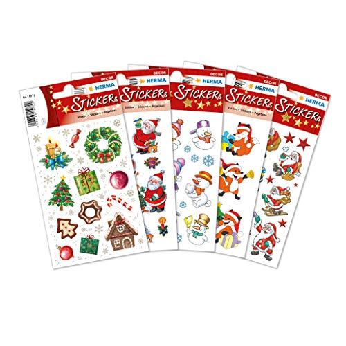 HERMA 15502 Weihnachtssticker Motiv Set, selbstklebende Weihnachtsdeko Geschenk Aufkleber, 180 kleine bunte Weihnachtsmotiv Etiketten