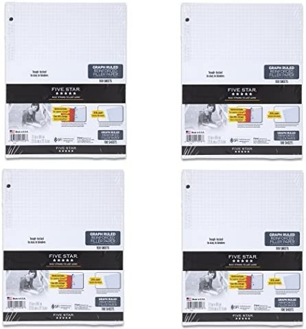 Five Star Reinforced Graph Popular overseas Loose-leaf Filler Ruled Paper Ultra-Cheap Deals