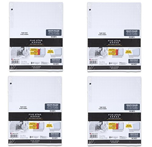 Five Star Reinforced Graph Filler Paper, Graph Ruled, Loose-leaf, 11 x 8.5 Inch Sheet Size, 100 Sheets/Pack (17016) (4-Pack)